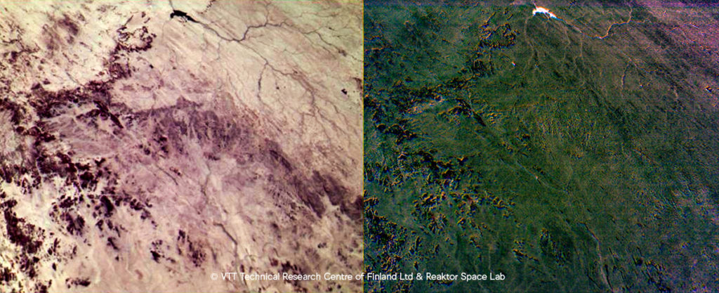 The image on the left depicts changes in soil type across the image while the image on the right displays changes in soil moisture. The water reservoir in the upper part of the image is very well highlighted in this image, when compared to the dark rocks.